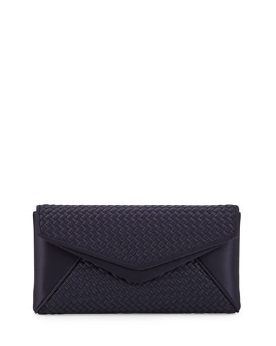 Woven Satin Envelope Evening Clutch Bag