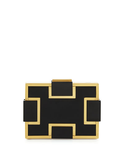 Faux-Leather Minaudiere Evening Clutch Bag, Black/Gold