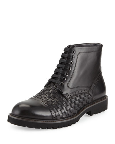 Botticino Leather Woven Lace-Up Boot
