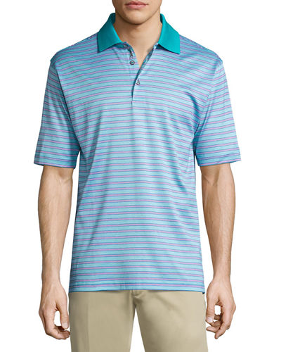 Stripe Print Short Sleeve Polo Shirt