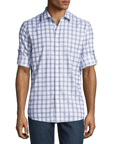Long-Sleeve Check-Print Cotton Shirt