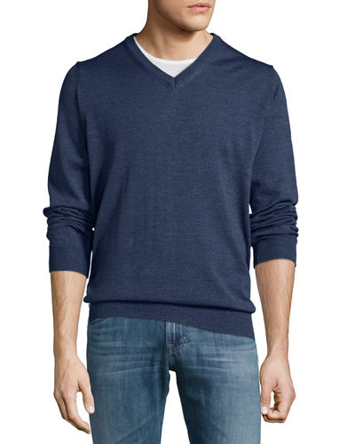 Wool Long-Sleeve V-Neck Sweater, Shadow