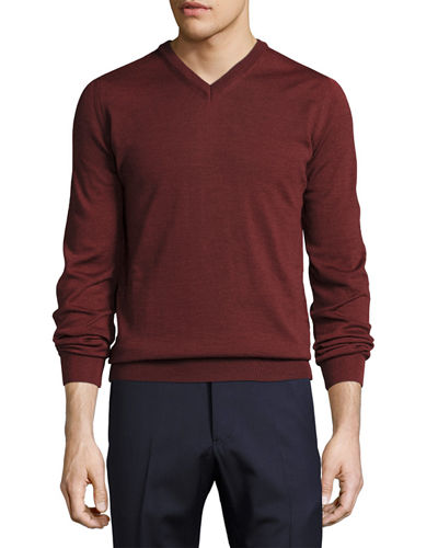 Wool Long-Sleeve V-Neck Sweater