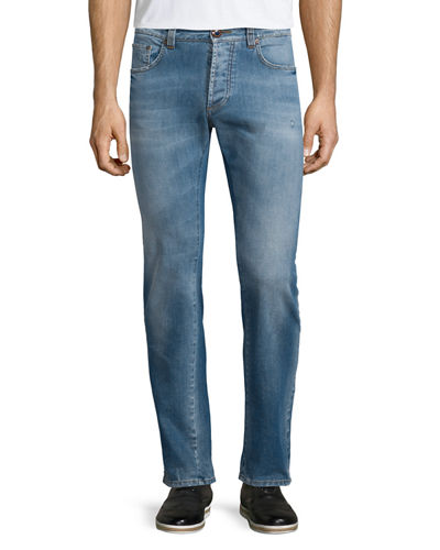 Five-Pocket Faded Stretch Denim Jeans