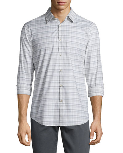 Plaid Slim-Fit Sport Shirt