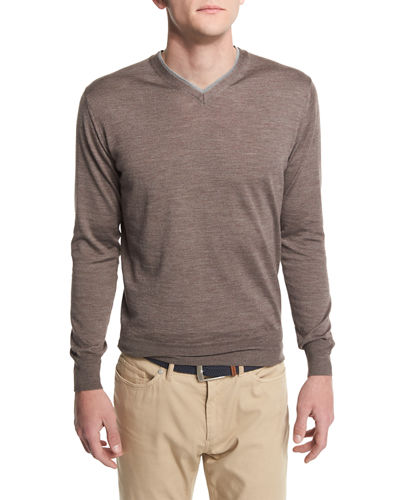 Silk-Blend V-Neck Pullover Sweater