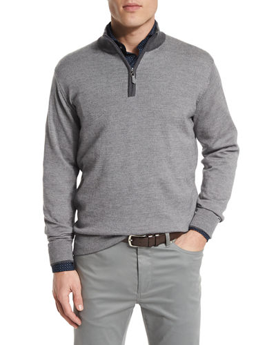 Textured Quarter-Zip Pullover Sweater