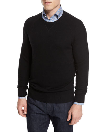 Mixed-Textured Crewneck Sweater
