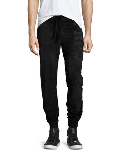 Velour Drawstring Jogger Pants