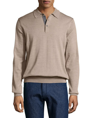 Wool Long-Sleeve Polo Sweater