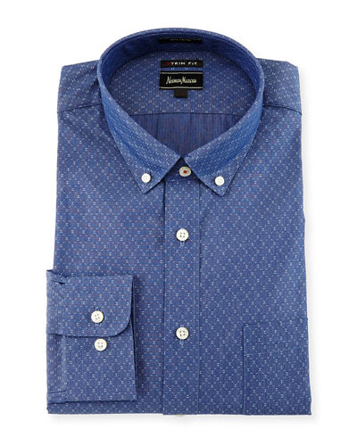 Extra Trim-Fit Regular-Finish Diamond-Print Dress Shirt