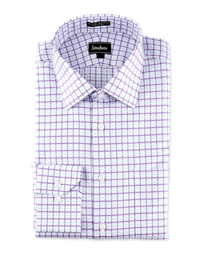 Regular-Finish Classic-Fit Diamond-Print Dress Shirt