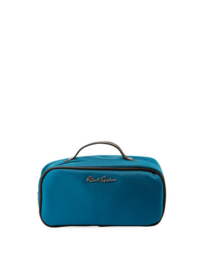 Faux-Leather-Trim Nylon Toiletry Bag