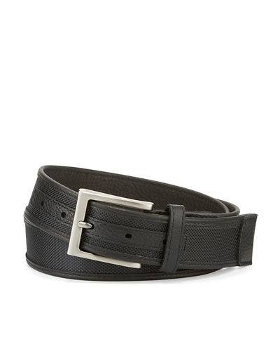 Leather-Trim Nylon Belt