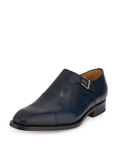 Monk-Strap Hand-Antiqued Leather Cap-Toe Loafer