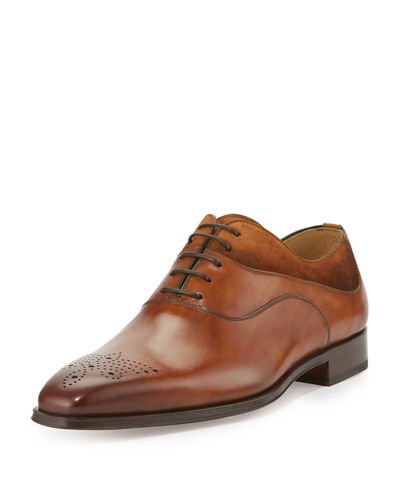 Suede-Trim Hand-Antiqued Leather Oxford, Cognac