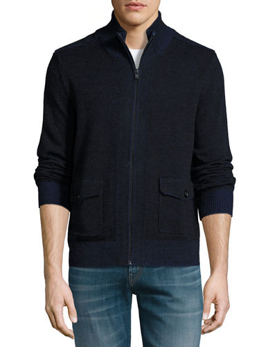 Stand-Collar Zip-Front Sweater