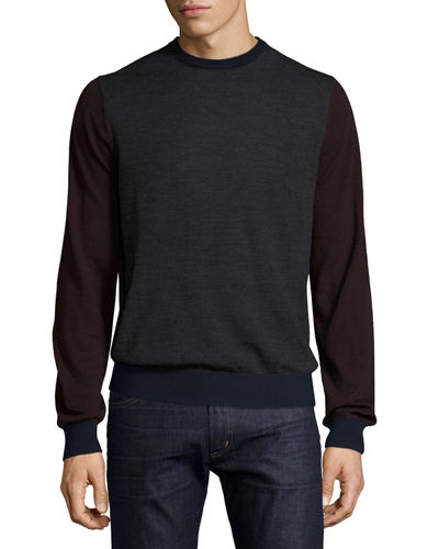 Wool Crewneck Pullover Sweater, Eclipse