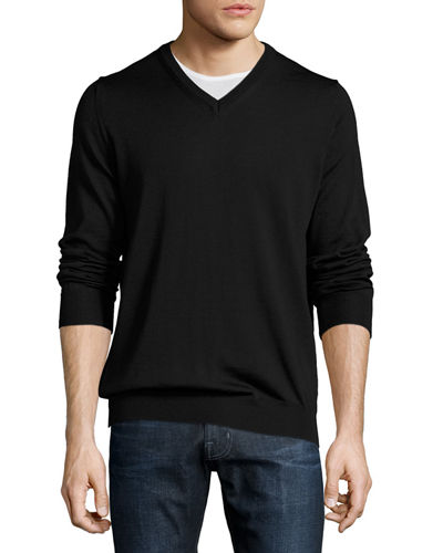 Wool Long-Sleeve V-Neck Sweater, Black