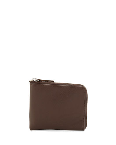Small Leather Zip-Around Wallet, Black