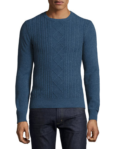 Wool Cable-Knit Crewneck Jersey Sweater, Rosewood