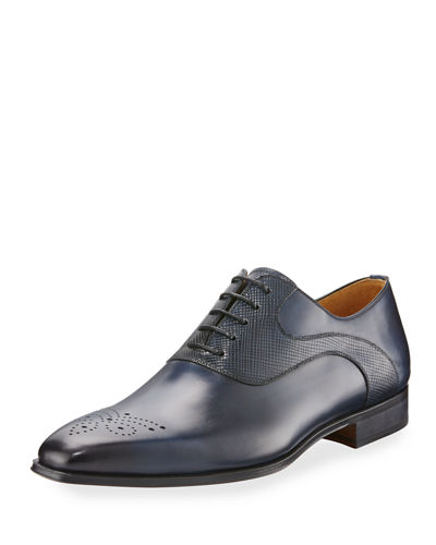 Vekio Hand-Antiqued Leather Lace-Up Oxford