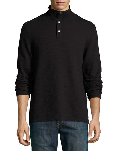 Mock-Collar Sweater w/ Nylon Elbow Patches
