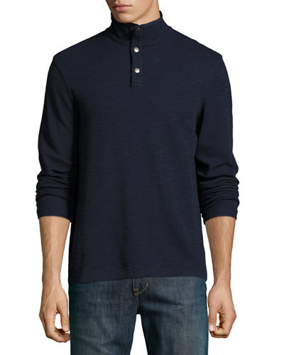 Mock-Collar Sweater w/ Nylon Elbow Patches, River Blue