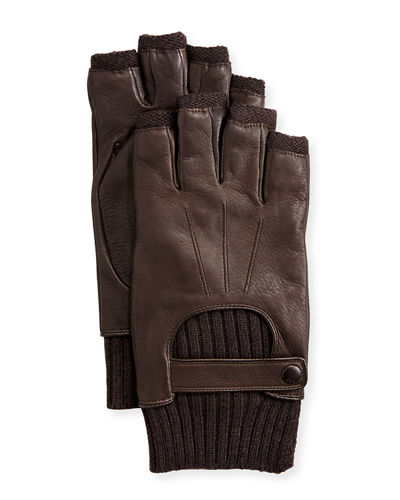Wool-Lined Leather Fingerless Gloves, Chocolate