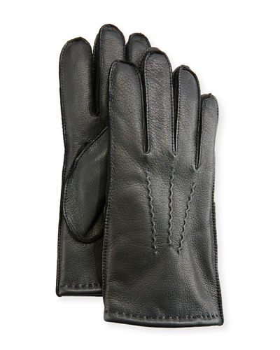 Three-Point-Stitch Leather Gloves, Black
