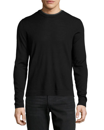 Double Collar Crewneck Long Sleeve Pullover Sweater