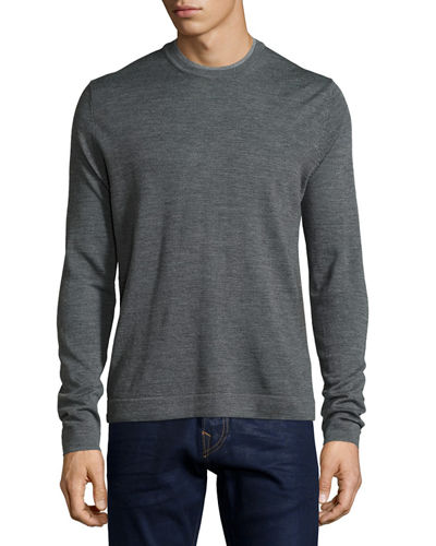 Double-Collar Crewneck Long-Sleeve Pullover Sweater