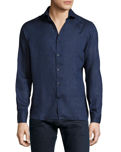 Tailored Fit Solid Linen Shirt