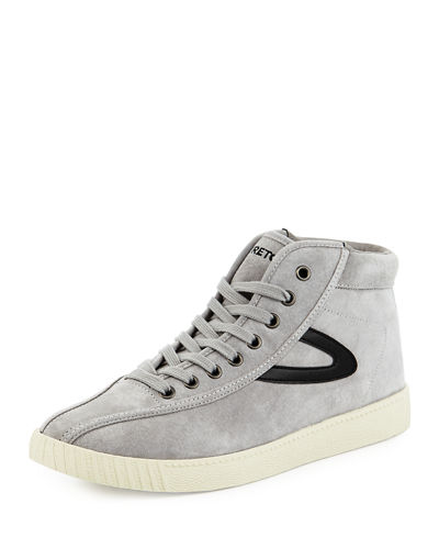High-Top Lace-Up Nubuck Sneaker