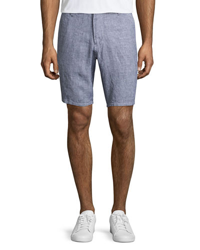 Linen Houndstooth Shorts