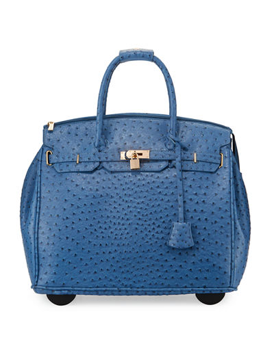 Kendall Ostrich-Embossed Faux Leather Rolling Bag