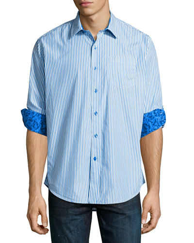 Benedetto Long Sleeve Striped Sport Shirt