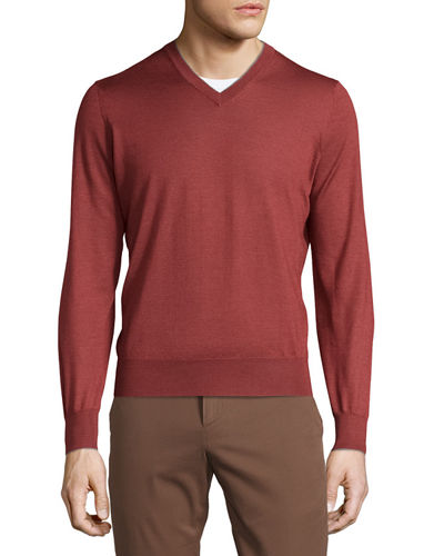 Cashmere-Blend V-Neck Sweater