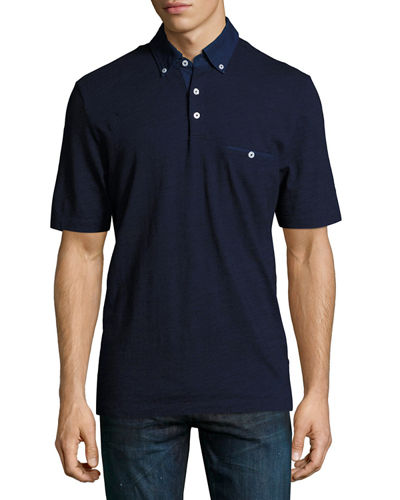 Solid Knit Pocket Polo Shirt