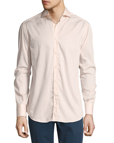 Solid Long-Sleeve Basic Fit Sport Shirt