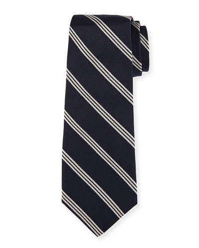 Triple-Stripe Silk Tie