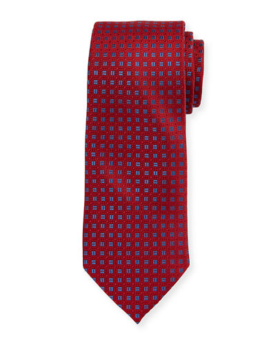 Boxed Square-Print Silk Tie