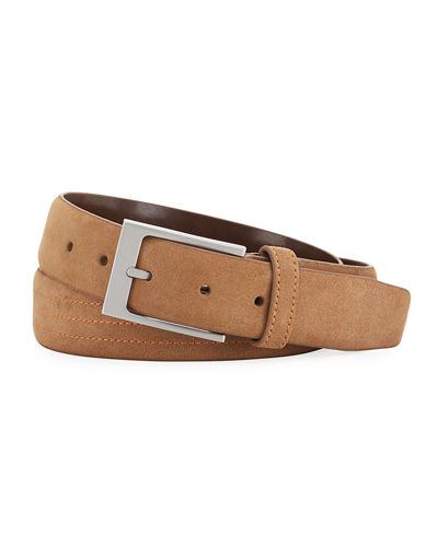 Suede Embroidered Buckle Belt