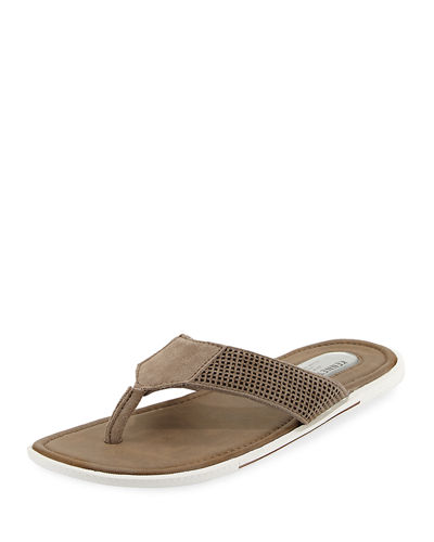 Final Say Perforated Suede Thong Sandal