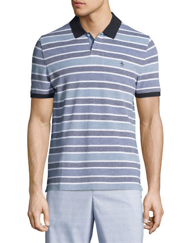 Birdseye Striped Cotton Polo Shirt