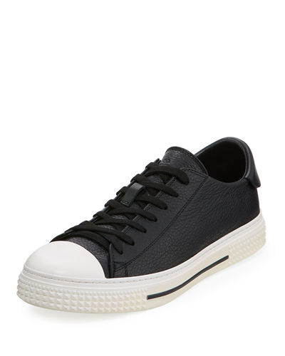 Pebbled Leather Lace-Up Sneaker