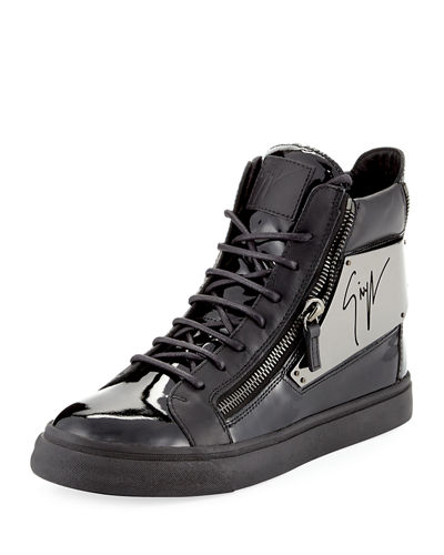 Men's Patent Logo-Plate High-Top Sneaker