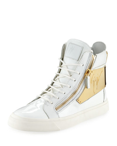 Mens Patent Logo Plate High Top Sneaker