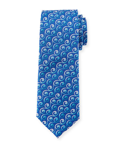 Scroll Stripe Silk Tie