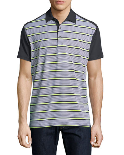 Perforated Fine Stripe Polo Shirt